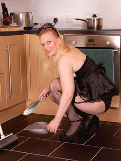 Naughty Anilos blonde Tamara dresses up in her maid outfit and teases us in the kitchen