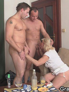 Babe salivates at the sight and feel of two stiff pricks using her willing orifices.