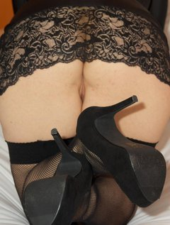 Hi Guys, You like my little Black Dress, nothing underneath only my fishnet holdups sexy black shoes and me, But the dre